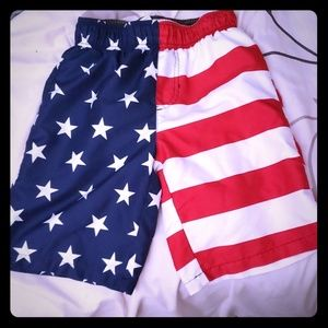 American Flag swim trunks